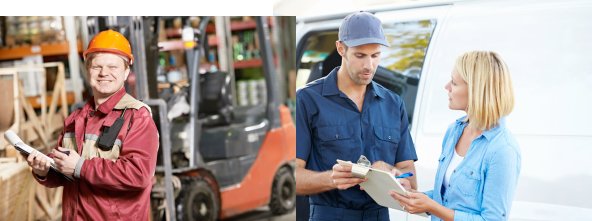 Left photo shows a delivery guy and the right photo shows a woman talking to another delivery guy