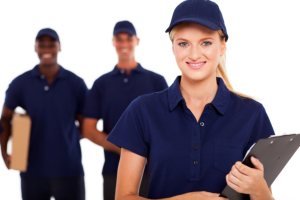 three delivery staff